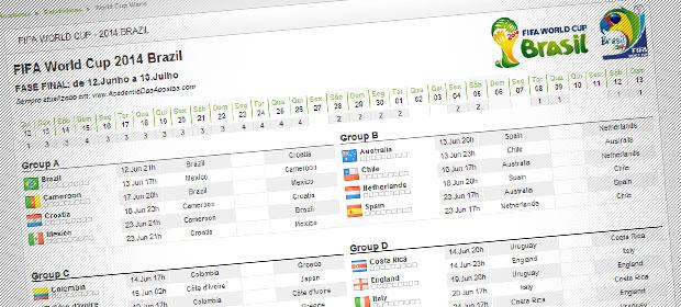 Calendário completo do Mundial Brasil 2014